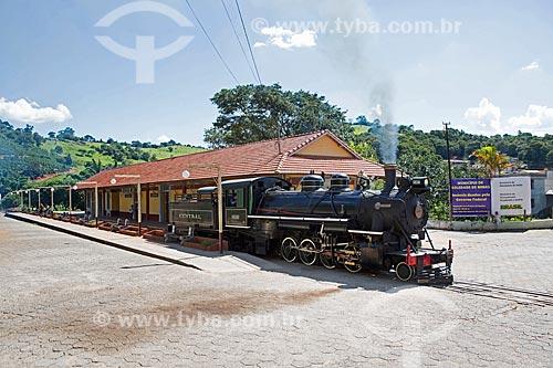 Locomotiva The Baldwin Locomotive Works 1424, USA 59712 (1927) - que faz o passeio turístico entre as cidades de São Lourenço e Soledade de Minas - na Estação Ferroviária de Soledade de Minas  - Soledade de Minas - Minas Gerais (MG) - Brasil