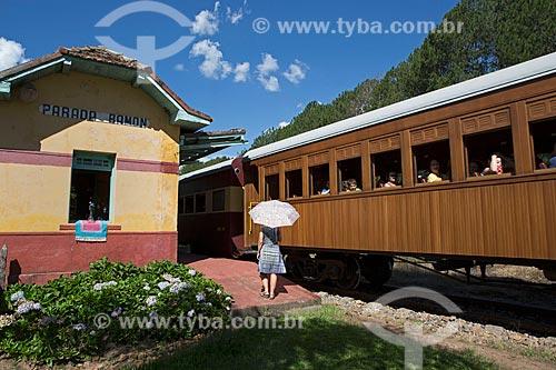 Locomotiva The Baldwin Locomotive Works 1424, USA 59712 (1927) - que faz o passeio turístico entre as cidades de São Lourenço e Soledade de Minas - passando pela Estação Ferroviária Parada Ramon  - São Lourenço - Minas Gerais (MG) - Brasil
