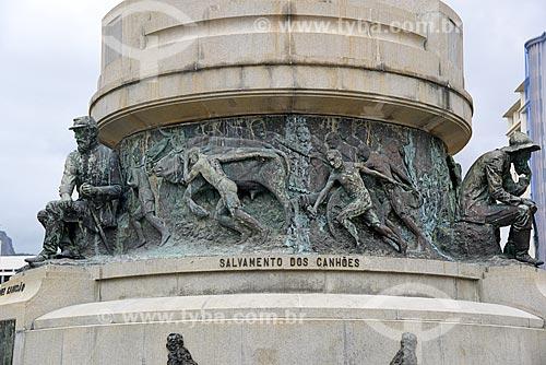 Detalhe do Monumento aos Heróis da Batalha de Laguna e Dourados - Salvamento dos Canhões - na Praça General Tibúrcio  - Rio de Janeiro - Rio de Janeiro (RJ) - Brasil