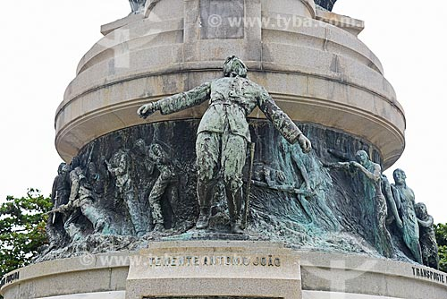 Detalhe do Monumento aos Heróis da Batalha de Laguna e Dourados - Tenente Antônio João - na Praça General Tibúrcio  - Rio de Janeiro - Rio de Janeiro (RJ) - Brasil