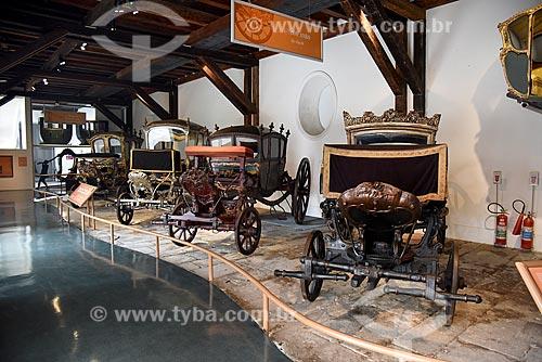 Carruagens - parte da exposição permanente do móvel ao automóvel - no Museu Histórico Nacional  - Rio de Janeiro - Rio de Janeiro (RJ) - Brasil