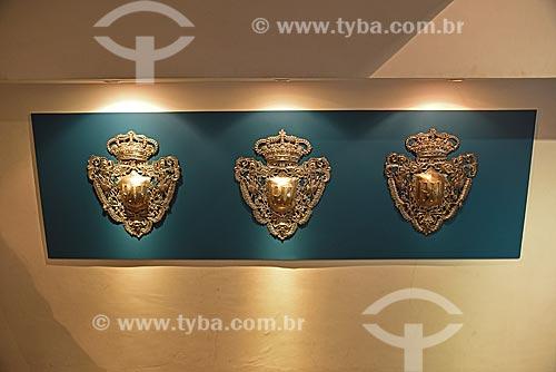 Brasão imperial - Dom Pedro II - parte do acervo permanente do Museu Histórico Nacional  - Rio de Janeiro - Rio de Janeiro (RJ) - Brasil