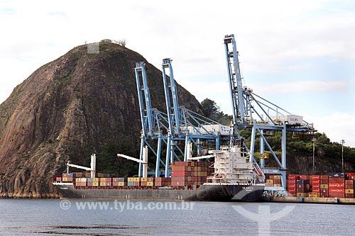 Navio cargueiro R.R. Europa no Terminal Capuaba com o Monumento Natural Municipal Morro do Penedo ao fundo  - Vila Velha - Espírito Santo (ES) - Brasil