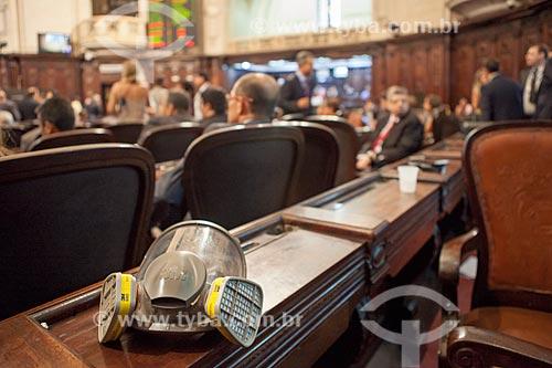 Detalhe de máscara de gás no interior da Assembléia Legislativa do Estado do Rio de Janeiro (ALERJ)  - Rio de Janeiro - Rio de Janeiro (RJ) - Brasil