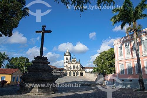 Vista do Cruzeiro com o Convento e Igreja de São Francisco (1588) - parte do Centro Cultural São Francisco - ao fundo  - João Pessoa - Paraíba (PB) - Brasil