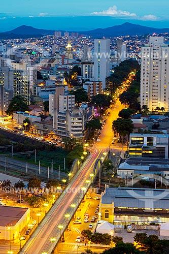 Vista geral do Viaduto de Santa Tereza (1929) durante o pôr do sol  - Belo Horizonte - Minas Gerais (MG) - Brasil