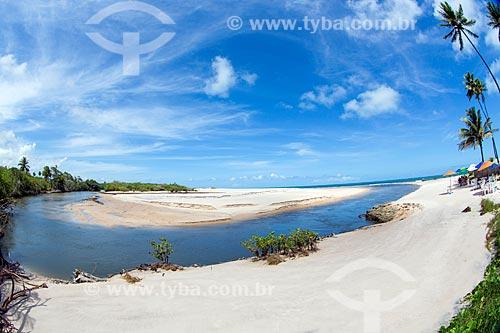 Vista da foz do Rio Graú e Praia de Barra do Graú  - Conde - Paraíba (PB) - Brasil