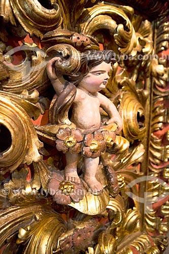 Detalhe de anjo barroco no interior da Igreja de Nossa Senhora do Monte Serrat (1671) no Mosteiro de São Bento  - Rio de Janeiro - Rio de Janeiro (RJ) - Brasil