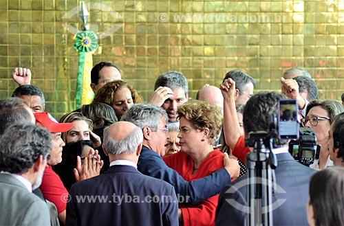 Senador Jorge Viana e Presidente Dilma Rousseff no Palácio da Alvorada após a aprovação do impeachment no Senado Federal  - Brasília - Distrito Federal (DF) - Brasil