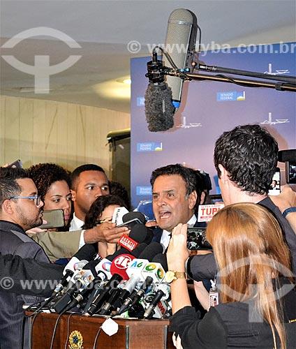 Entrevista com o Senador Aécio Neves durante a sessão de julgamento do impeachment da Presidente Dilma Rousseff no Senado Federal  - Brasília - Distrito Federal (DF) - Brasil