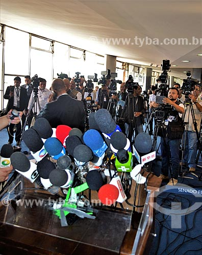 Púlpito para entrevista coletiva no Senado Federal durante a sessão de julgamento do impeachment da Presidente Dilma Rousseff no Senado Federal  - Brasília - Distrito Federal (DF) - Brasil