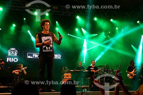 Show do cantor Leandro Sapucahy no Terreirão do Samba durante o carnaval  - Rio de Janeiro - Rio de Janeiro (RJ) - Brasil