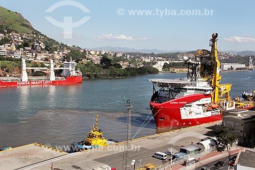 Navio Sapura Topázio (pipe layer) no Porto de Vitória  - Vitória - Espírito Santo (ES) - Brasil