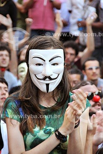 Manifestante durante manifestação - Em defesa do Rio - contra distribuição dos royalties do petróleo  - Rio de Janeiro - Rio de Janeiro (RJ) - Brasil