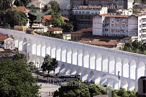 Vista geral dos Arcos da Lapa (1750) com o Bonde de Santa Teresa  - Rio de Janeiro - Rio de Janeiro (RJ) - Brasil