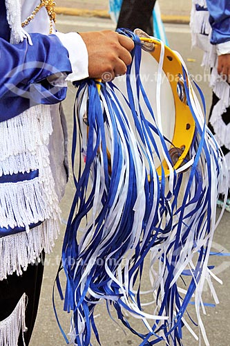 Detalhe de folião de congada durante a Festa de São Benedito  - Aparecida - São Paulo (SP) - Brasil