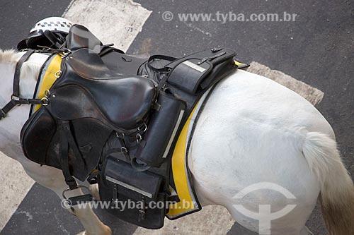 Vista de cima de sela de cavalo da cavalaria da Polícia Militar  - Rio de Janeiro - Rio de Janeiro (RJ) - Brasil