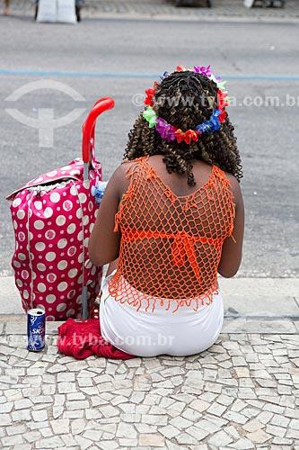 Foliã durante o desfile do bloco de carnaval de rua Cordão do Bola Preta  - Rio de Janeiro - Rio de Janeiro (RJ) - Brasil