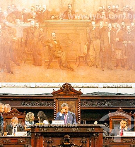 Deputado Jorge Picciani presidindo a mesa diretora durante abertura do ano legistativo da Assembléia Legislativa do Estado do Rio de Janeiro (ALERJ)  - Rio de Janeiro - Rio de Janeiro (RJ) - Brasil