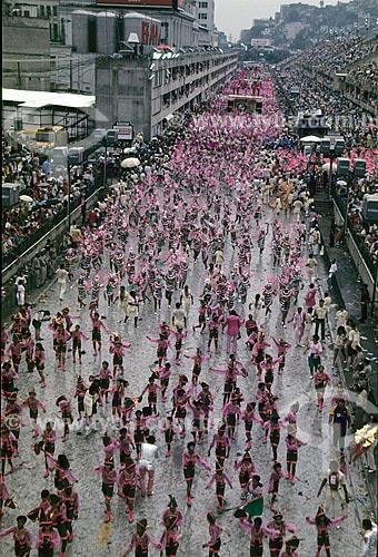 Desfile do Grêmio Recreativo Escola de Samba Estação Primeira de Mangueira no Sambódromo da Marquês de Sapucaí - segunda metade da década de 80  - Rio de Janeiro - Rio de Janeiro (RJ) - Brasil