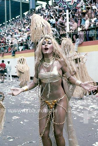 Detalhe de Wanderléa durante o desfile de carnaval - início da década de 80  - Rio de Janeiro - Rio de Janeiro (RJ) - Brasil