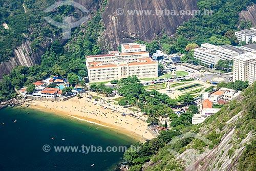 Vista da Praia Vermelha, Círculo Militar da Praia Vermelha e do Instituto Militar de Engenharia a partir do Pão de Açúcar  - Rio de Janeiro - Rio de Janeiro (RJ) - Brasil