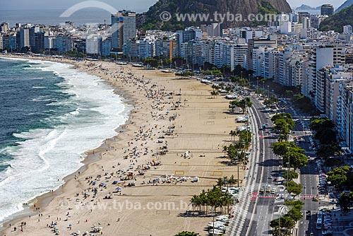 Vista geral da orla da Praia de Copacabana a partir do antigo Hotel Le Meridien - atual Hotel Windsor Atlântica  - Rio de Janeiro - Rio de Janeiro (RJ) - Brasil