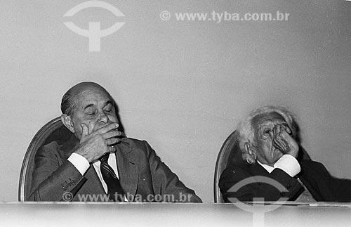 Tancredo Neves e Austregésilo de Athayde durante evento na Academia Brasileira de Letras (ABL)  - Rio de Janeiro - Rio de Janeiro (RJ) - Brasil