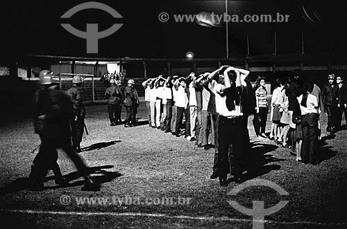 Estudantes da Universidade Federal do Rio de Janeiro presos durante o Regime Militar no antigo Estádio de General Severiano  - Rio de Janeiro - Rio de Janeiro (RJ) - Brasil