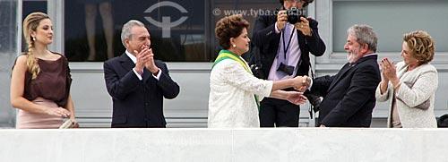 Marcela Temer e Michel Temer - à esquerda - durante a cerimônia de posse de Dilma Rousseff com Luiz Inácio Lula da Silva e Marisa Letícia - à direita  - Brasília - Distrito Federal (DF) - Brasil