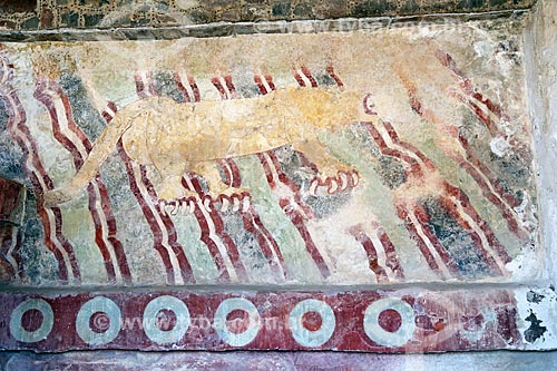 Detalhe do Mural del Puma no Palacio de los Jaguares (Palácios dos Jaguares) nas Ruínas de Teotihuacan  - San Juan Teotihuacán - Estado do México - México