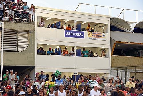 Camarote dos julgadores  do Sambódromo da Marquês de Sapucaí durante o ensaio técnico  - Rio de Janeiro - Rio de Janeiro (RJ) - Brasil