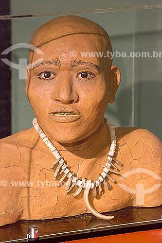 Reconstrução de um Sambaquiano adulto através de pesquisas documentais em exibição no Museu Arqueológico de Sambaqui de Joinville  - Joinville - Santa Catarina (SC) - Brasil