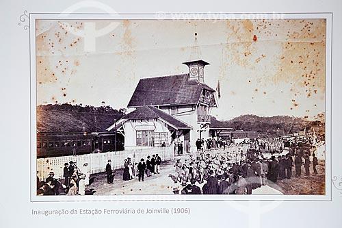 Inauguração da Estação Ferroviária de Joinville (1906) - Reprodução do acervo da Estação Museu da Memória - antiga Estação Ferroviária de Joinville  - Joinville - Santa Catarina (SC) - Brasil
