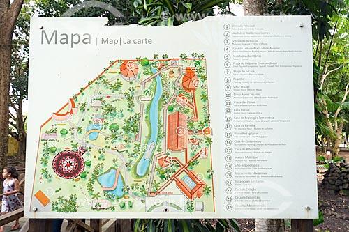 Detalhe de mapa no Centro de Pesquisas Museológicas Museu Sacaca  - Macapá - Amapá (AP) - Brasil