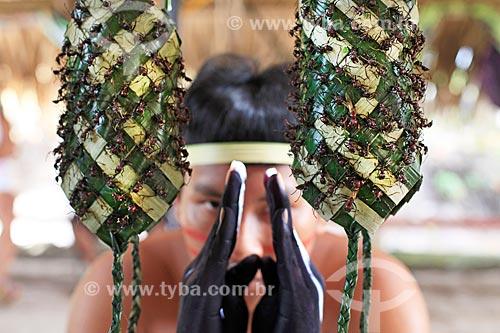 Detalhe de luva de palha com formigas tucandeiras usadas para o ritual da tucandeira na Aldeia Tarruapé da tribo Sateré-mawé  - Manacapuru - Amazonas (AM) - Brasil