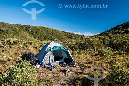 Acampamento na trilha na Serra da Mantiqueira no Parque Nacional de Itatiaia  - Itatiaia - Rio de Janeiro (RJ) - Brasil