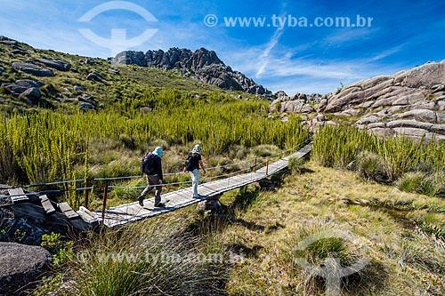 Ponte de madeira na trilha da Pedra do Altar no Parque Nacional de Itatiaia  - Itatiaia - Rio de Janeiro (RJ) - Brasil