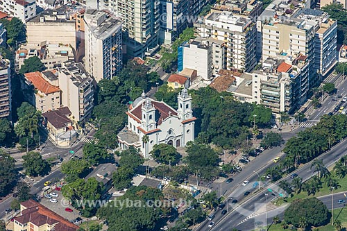 Vista do Paróquia Santa Margarida Maria (1956) a partir do mirante do Cristo Redentor  - Rio de Janeiro - Rio de Janeiro (RJ) - Brasil