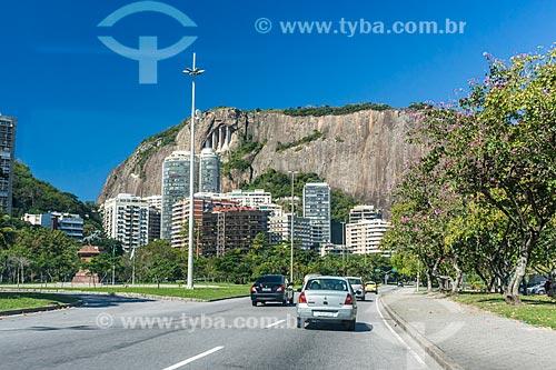 Tráfego na Avenida Epitácio Pessoa com o Morro do Cantagalo ao fundo  - Rio de Janeiro - Rio de Janeiro (RJ) - Brasil