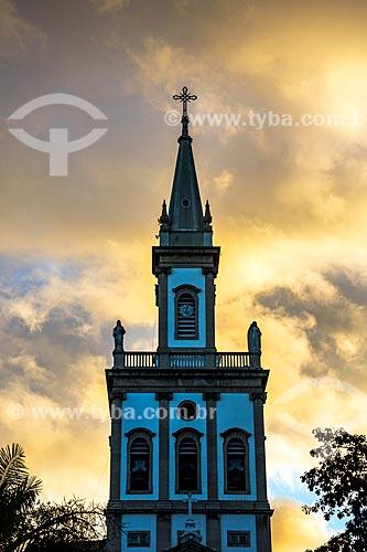 Detalhe do campanário da Igreja Matriz de Nossa Senhora da Glória (1872) durante o pôr do sol  - Rio de Janeiro - Rio de Janeiro (RJ) - Brasil