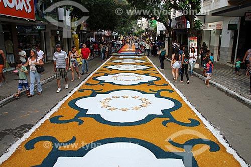 Detalhe de tapetes para a procissão de Corpus Christi  - Castelo - Espírito Santo (ES) - Brasil