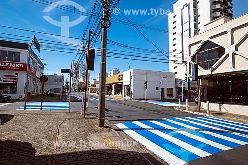 Faixa de pedestre pintada de azul e branco na esquina da Rua Episcopal com a Rua Doutor Carlos Botelho  - São Carlos - São Paulo (SP) - Brasil