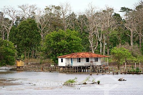 Casa em comunidade ribeirinha às margens do Rio Amazonas entre as cidade de Manaus e Itacoatiara  - Manaus - Amazonas (AM) - Brasil