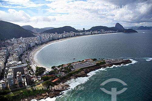 Foto aérea do antigo Forte de Copacabana (1914-1987), atual Museu Histórico do Exército - com a Praia de Copacabana  - Rio de Janeiro - Rio de Janeiro (RJ) - Brasil