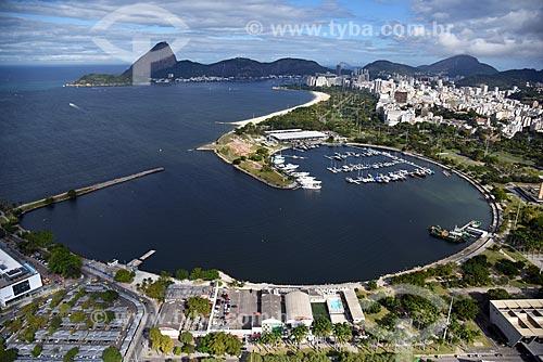 Foto aérea da Marina da Glória com o Pão de Açúcar ao fundo  - Rio de Janeiro - Rio de Janeiro (RJ) - Brasil