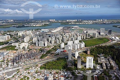 Foto aérea da Barra da Tijuca com o Parque Olímpico Rio 2016 ao fundo  - Rio de Janeiro - Rio de Janeiro (RJ) - Brasil