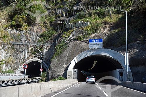 Túnel de São Conrado - à esquerda - e entrada do Túnel do Pepino no Novo Elevado do Joá (Elevado Presidente Itamar Franco)  - Rio de Janeiro - Rio de Janeiro (RJ) - Brasil