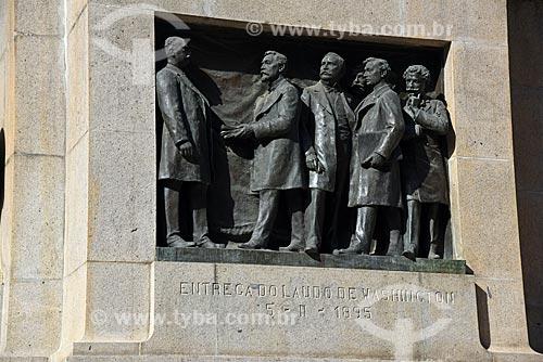 Detalhe de estátuas na base do obelisco da Praça dos Expedicionários  - Rio de Janeiro - Rio de Janeiro (RJ) - Brasil