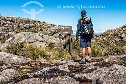 Placa em trilha do Parque Nacional de Itatiaia  - Itatiaia - Rio de Janeiro (RJ) - Brasil